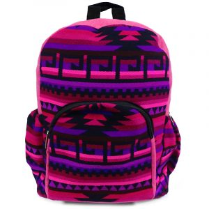 Handmade large cushioned backpack bag with multicolored Aztec inspired tribal print striped pattern material and vegan suede in pink, purple, dark pink, burgundy, and black color combination.