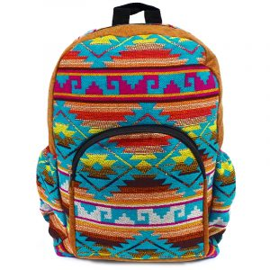 Handmade large cushioned backpack bag with multicolored Aztec inspired tribal print striped pattern material and vegan suede in tan brown, turquoise blue,hot pink, orange, neon lime green, yellow, burgundy, and white color combination.