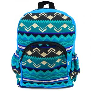 Handmade large cushioned backpack bag with multicolored Aztec inspired tribal print striped pattern material and vegan suede in turquoise, blue, teal green, mint, black, dark gray, and white color combination.
