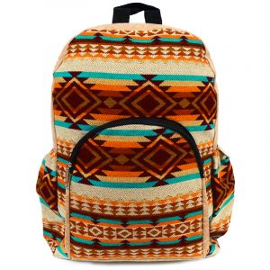 Handmade large cushioned backpack bag with multicolored Aztec inspired tribal print striped pattern material and vegan suede in beige, orange, dark orange, brown, burgundy, and teal green color combination.