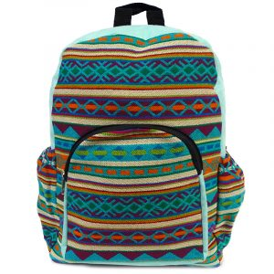 Handmade large cushioned backpack bag with multicolored Aztec inspired tribal print striped pattern material and vegan suede in mint, turquoise blue, burgundy, green, orange, and beige color combination.
