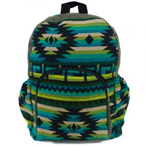 Handmade large cushioned backpack bag with multicolored Aztec inspired tribal print striped pattern material and vegan suede in olive green, lime green, teal, beige, and black color combination.