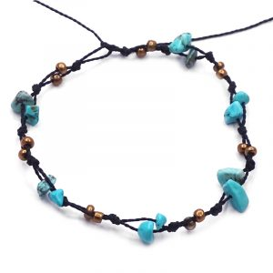 Handmade macramé string anklet with howlite chip stones and seed beads in turquoise, gold, and black color combination.