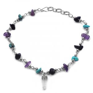 Handmade chip stone and alpaca silver metal chain anklet with natural clear quartz crystal point dangle in purple amethyst, turquoise howlite, and black color combination.
