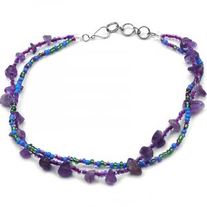 Handmade seed bead multi strand anklet with chip stones in purple amethyst, turquoise, and green color combination.