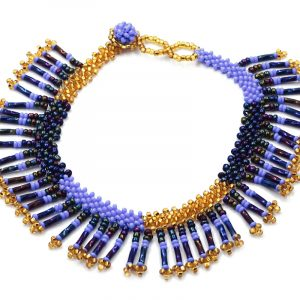 Handmade Czech glass seed bead anklet with multiple bugle beaded fringe dangles in periwinkle blue, iridescent navy, and gold color combination.