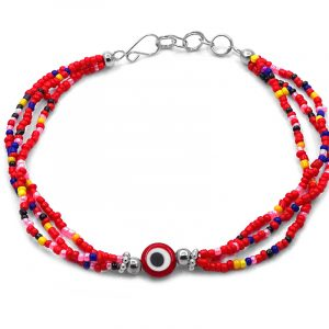 Handmade seed bead multi strand anklet with evil eye bead centerpiece in red, yellow, blue, pink, white, and black color combination.