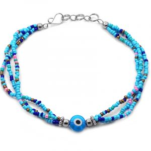 Handmade seed bead multi strand anklet with evil eye bead centerpiece in light blue, turquoise, blue, pink, mint, gold, white, and black color combination.