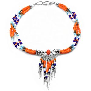 Handmade Native American inspired seed bead multi strand anklet with crystal bead and beaded dangles in orange, gold, light blue, white, and blue color combination.