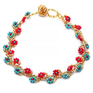 Handmade Czech glass seed bead floral vine anklet with beaded flowers in gold, red, and turquoise mint color combination.