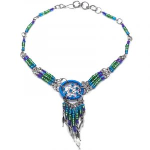 Handmade seed bead silver metal chain anklet with round beaded thread dream catcher and long beaded metal dangles in turquoise blue, green, and purple color combination.