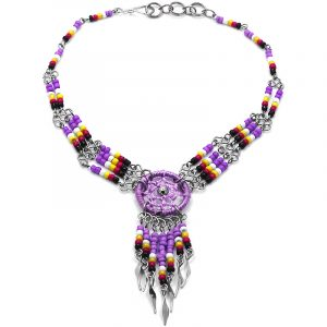 Handmade Native American inspired seed bead silver metal chain anklet with round thread dream catcher and long beaded metal dangles in lavender purple, white, yellow, dark pink, and black color combination.