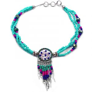 Handmade seed bead and crystal bead multi strand anklet with round beaded sparkle thread dream catcher and long beaded metal dangles in mint green, hot pink, and blue color combination.