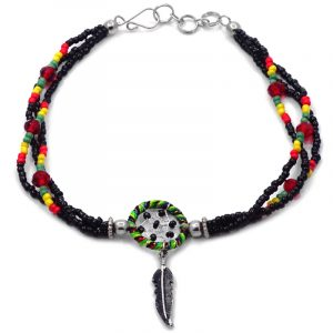 Handmade Rasta seed bead and crystal bead multi strand anklet with round beaded sparkle thread dream catcher and colored metal feather charm dangle in black.