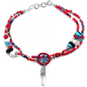 Handmade seed bead and chip stone multi strand anklet with mini round beaded thread dream catcher and natural clear quartz crystal point dangle in red, turquoise blue, white, black, and gold color combination.