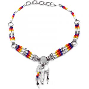 Handmade Native American inspired seed bead silver metal chain anklet with round metal hoop, chip stone, metal feather charm, and beaded dangles in white, yellow, orange, red, and blue color combination.