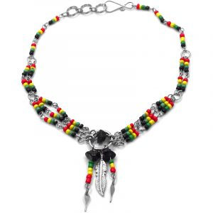 Seed bead silver metal chain anklet with round metal hoop, chip stone, metal feather charm, and beaded dangles in Rasta colors.