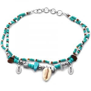 Handmade seed bead and chip stone multi strand anklet with a natural seashell and two silver metal shell charm dangles in mint green, turquoise, white, and brown color combination.