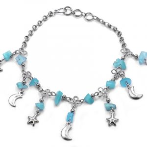 Handmade alpaca silver metal chain anklet with chip stones and metal moon and star charm dangles in light blue turquoise color.