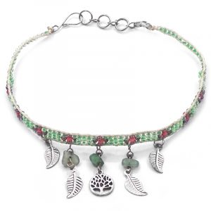 Handmade floral seed bead strap anklet with chip stones, silver metal tree of life charm, and leaf charm dangles in light green, salmon pink, and rose gold color combination.