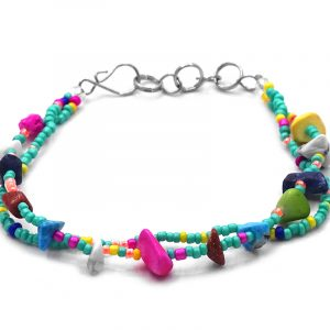 Handmade seed bead multi strand bracelet with chip stones in mint green and multicolored color combination.