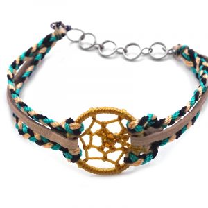 Handmade vegan suede leather and multicolored braided macramé thread multi strand bracelet with round thread dream catcher centerpiece in golden yellow, beige, black, and teal color combination.