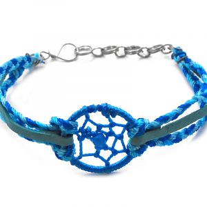 Handmade suede vegan leather and braided macramé thread multi strand bracelet with round dream catcher centerpiece in turquoise, teal, and light blue color combination.