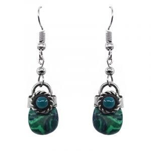 Handmade tumbled stone dangle earrings with silver metal border and teal green bead in green malachite.