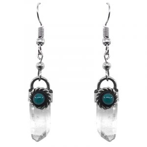 Handmade rough-cut raw stone point dangle earrings with silver metal border and teal green bead in clear quartz.