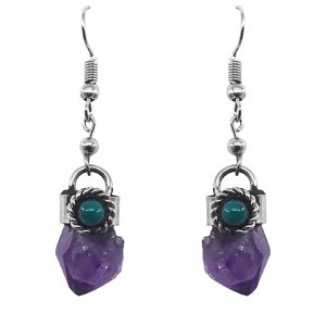 Handmade rough-cut raw stone dangle earrings with silver metal border and teal green bead in purple amethyst.