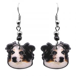 Australian Shepherd dog face acrylic dangle earrings with beaded metal hooks in white, brown, gray, and black color combination.