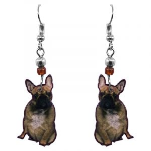 French Bulldog dog dangle earrings with beaded metal hooks in brown, beige, white, and black color combination.