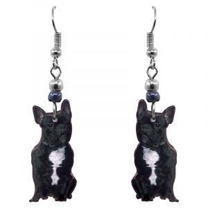French Bulldog dog dangle earrings with beaded metal hooks in black and white color combination.