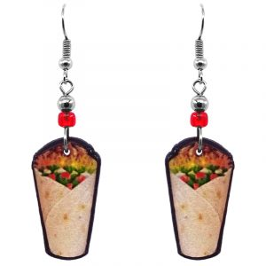 Burrito taco Mexican food acrylic dangle earrings with beaded metal hooks in golden yellow, red, and brown color combination.