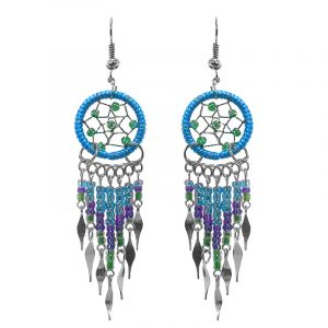 Handmade dream catcher earrings with thread, seed bead dangles, and metal hooks in turquoise blue, purple, and green color combination.