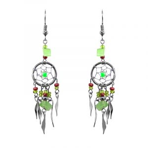 Handmade round beaded silver metal dream catcher earrings with chip stone, seed bead, and alpaca silver metal dangles in lime green and brown color combination.