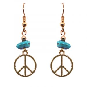Handmade gold-colored peace sign charm dangle earrings with turquoise howlite chip stone.