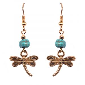 Handmade gold-colored dragonfly charm dangle earrings with turquoise howlite chip stone.