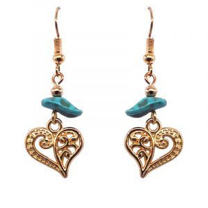 Handmade gold-colored heart charm dangle earrings with turquoise howlite chip stone.