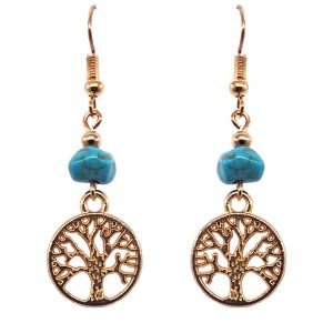 Handmade gold-colored tree of life charm dangle earrings with turquoise howlite chip stone.