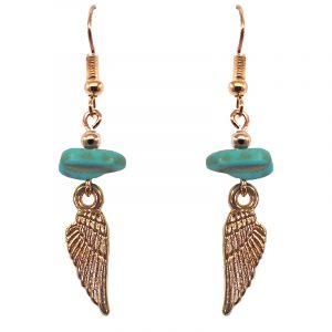 Handmade gold-colored angel wing charm dangle earrings with turquoise howlite chip stone.