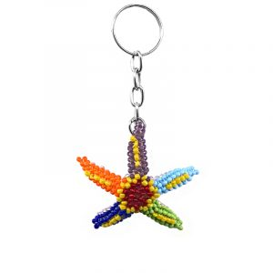 Handmade Czech glass seed bead figurine keychain of a starfish in multicolored color combination.