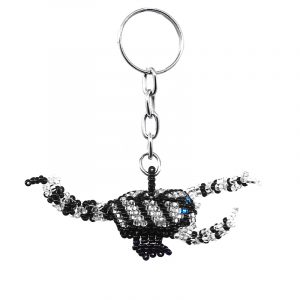 Handmade Czech glass seed bead figurine keychain of a scorpion in white silver and black color combination.