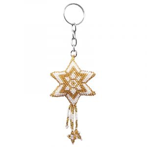 Handmade seed bead keychain of a star with dangles in white and gold color combination.