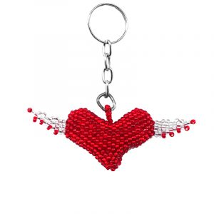 Handmade Czech glass seed bead figurine keychain of a heart with wings in red and white color combination.