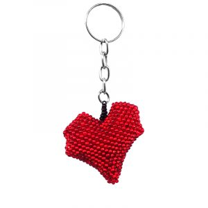 Handmade Czech glass seed bead figurine keychain of a heart in red color.