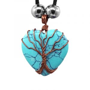 Handmade copper metal wire wrapped Tree of Life heart-shaped stone cabochon pendant on adjustable necklace in turquoise howlite.