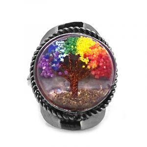 Round-shaped clear acrylic resin, copper wire, and crushed chip stone inlay tree of life on alpaca silver metal ring with rope edge border in rainbow colors.