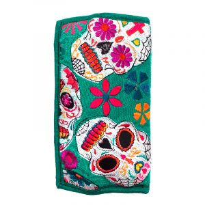 Handmade cushioned cotton eyeglasses pouch bag with multicolored embroidered Day of the Dead sugar skull and floral designs and strap in teal green color.