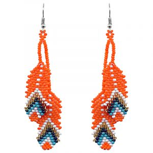 Handmade Native American inspired Czech glass seed bead earrings with two long beaded feather dangles in orange, white, gold, iridescent dark blue, and turquoise color combination.